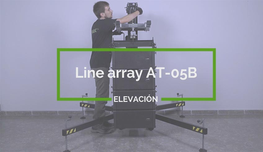How to assemble a line array with a frontal loading lifting tower?